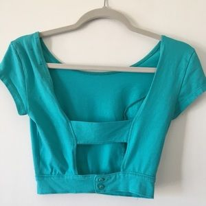 Super cute blue belly shirt open back!